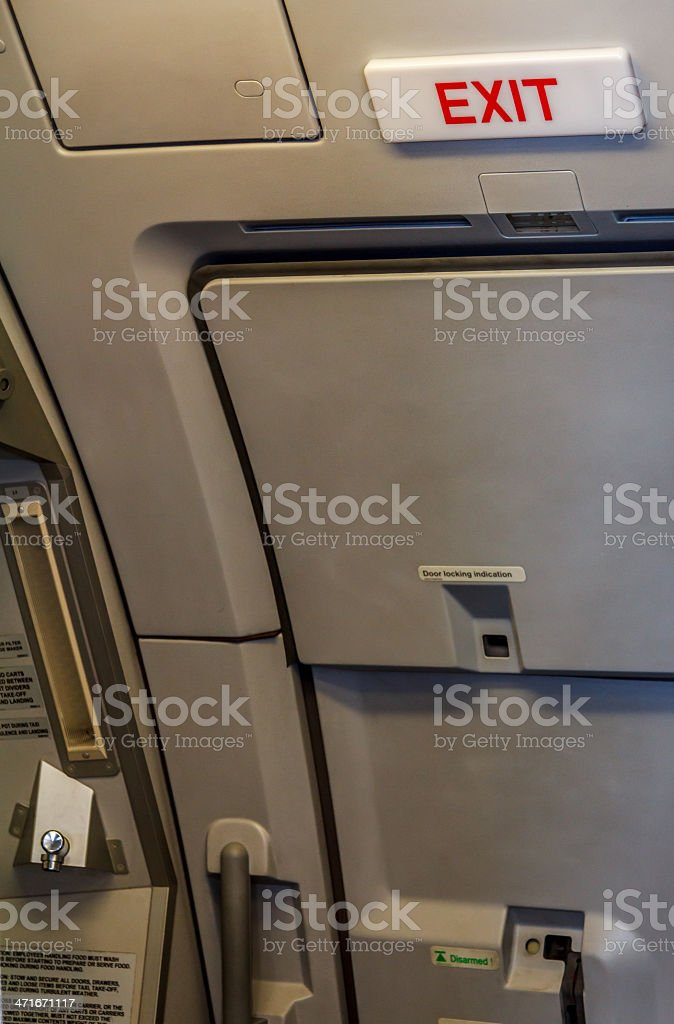 Exit Door In The Aircraft stock photo