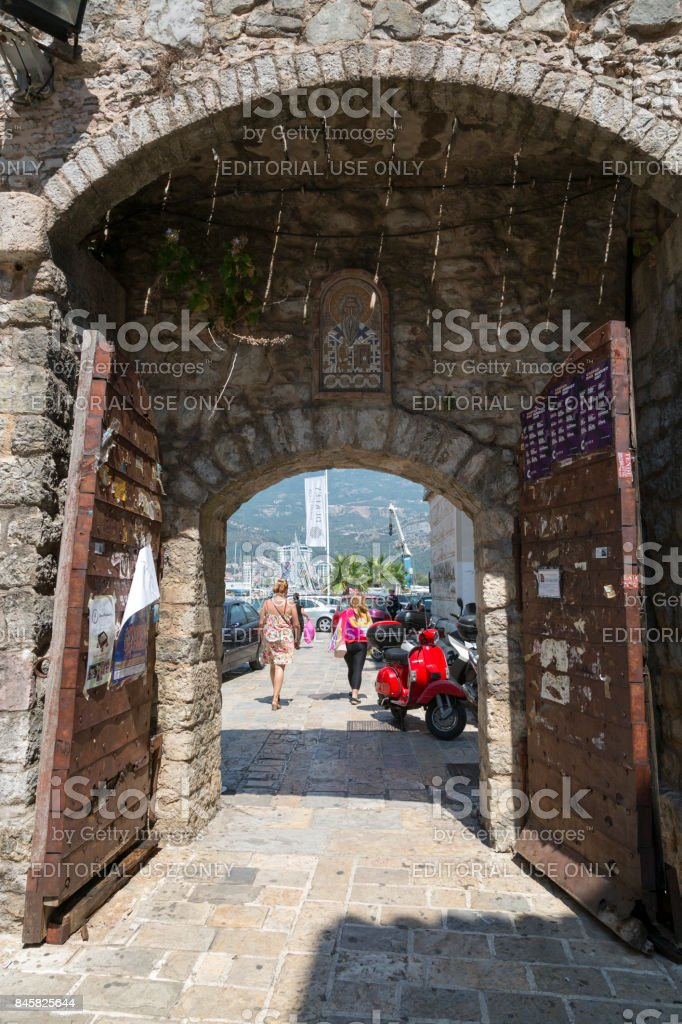 Exit from the old city. Budva, Montenegro. stock photo