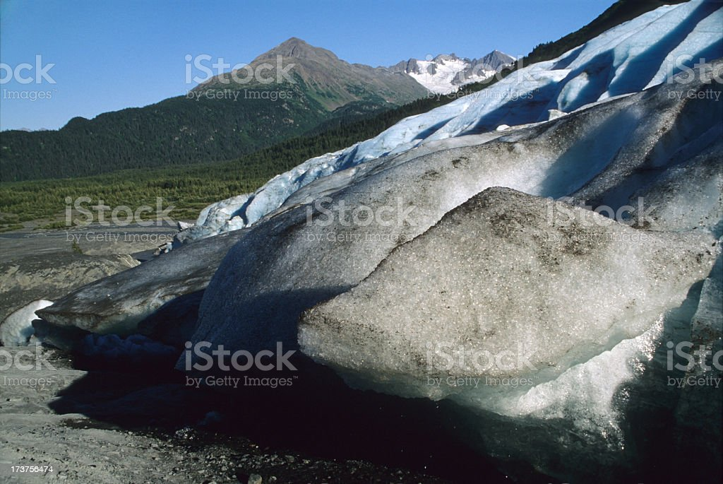 Exit Glacier melting Kenai Fjords National Park Alaska stock photo