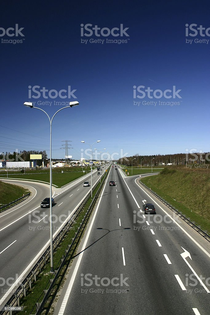 Exit lane stock photo