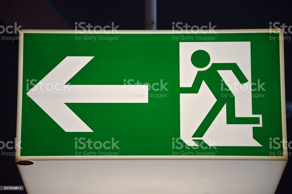 Exit Left Sign stock photo