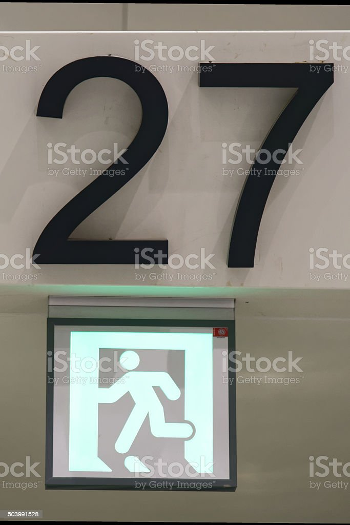 Exit number 27 sign stock photo