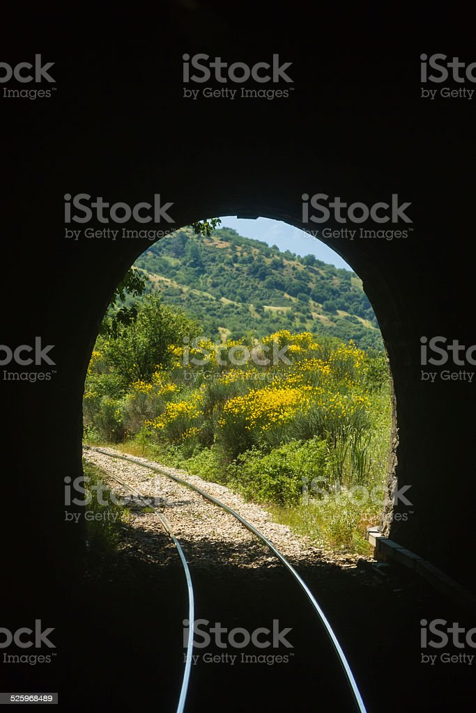 Exit of tunnel stock photo