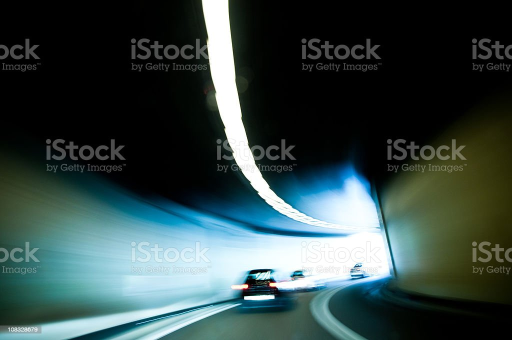 exit on a highway tunnel royalty-free stock photo