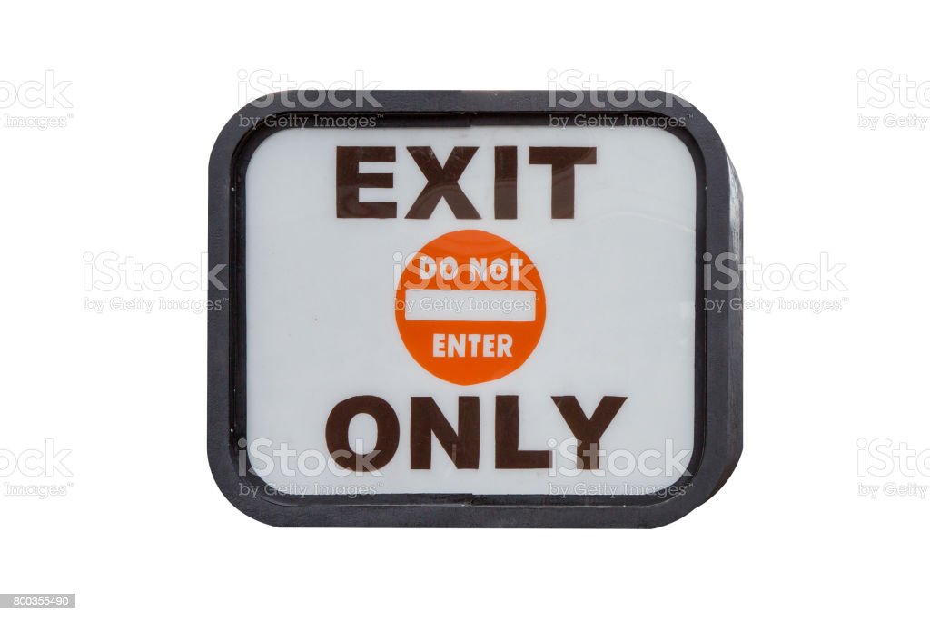 Exit Only Sign isolated on white background stock photo