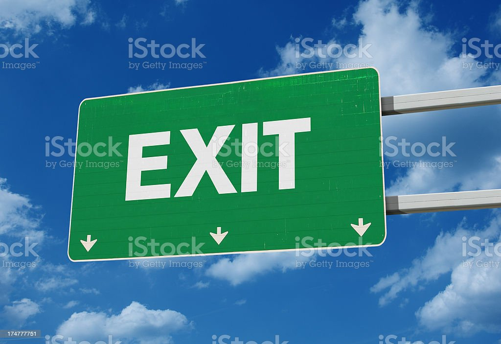 Exit road sign stock photo