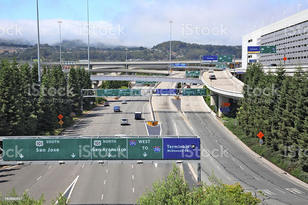 Exit roads from San Francisco International Airport stock photo