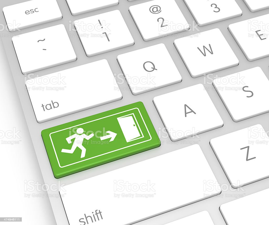 Exit Sign Computer Key stock photo