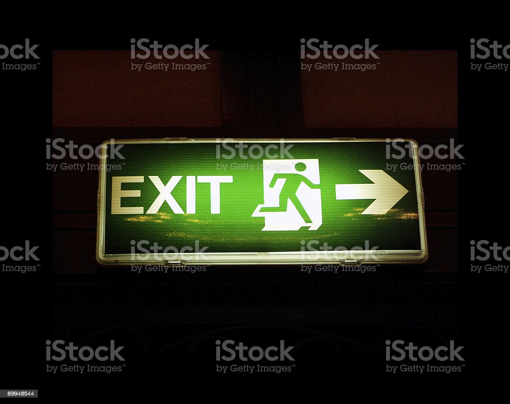 Exit sign in emergency stock photo