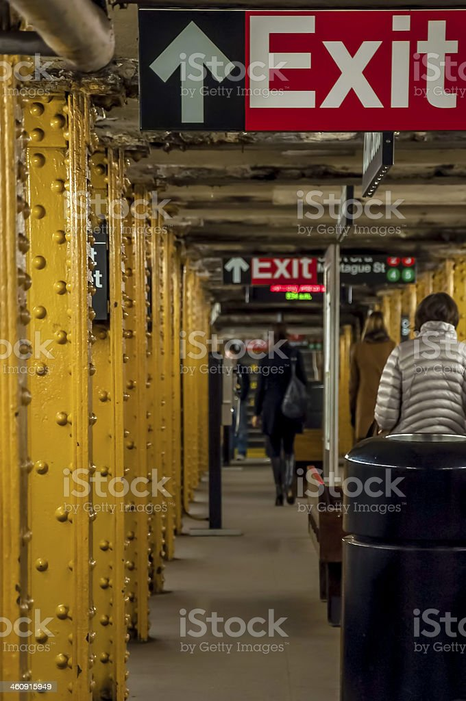 Exit sign in Subway royalty-free stock photo