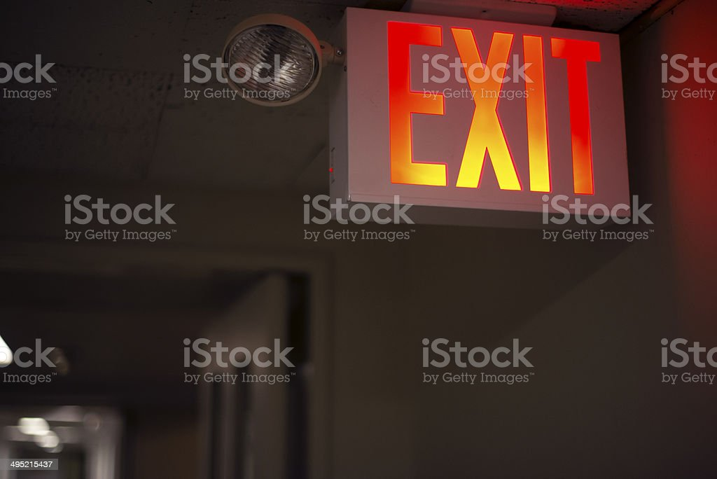 Exit sign stock photo