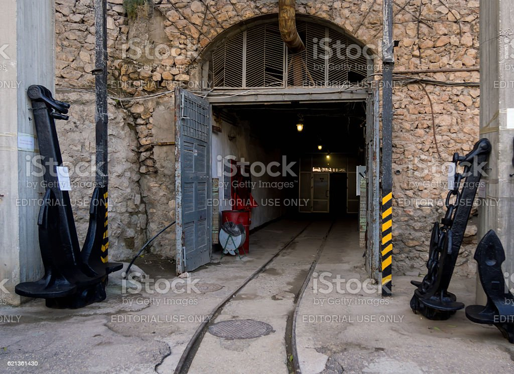 Exit the underground naval museum complex 'Balaklava' stock photo