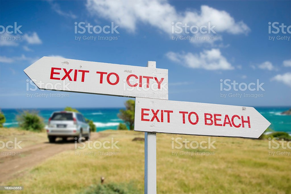 exit to city and beach scenic stock photo