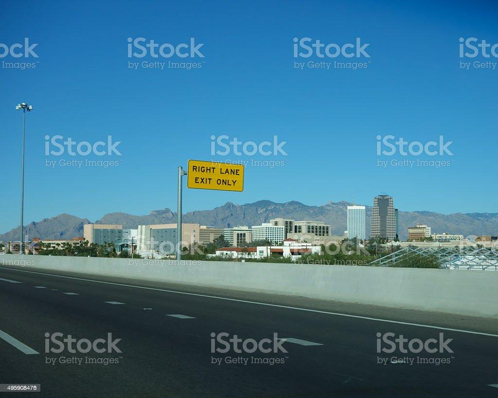 Exit to Downtown, Tucson, AZ stock photo