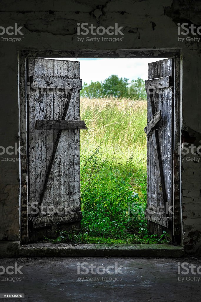 Exit to Green Meadow stock photo