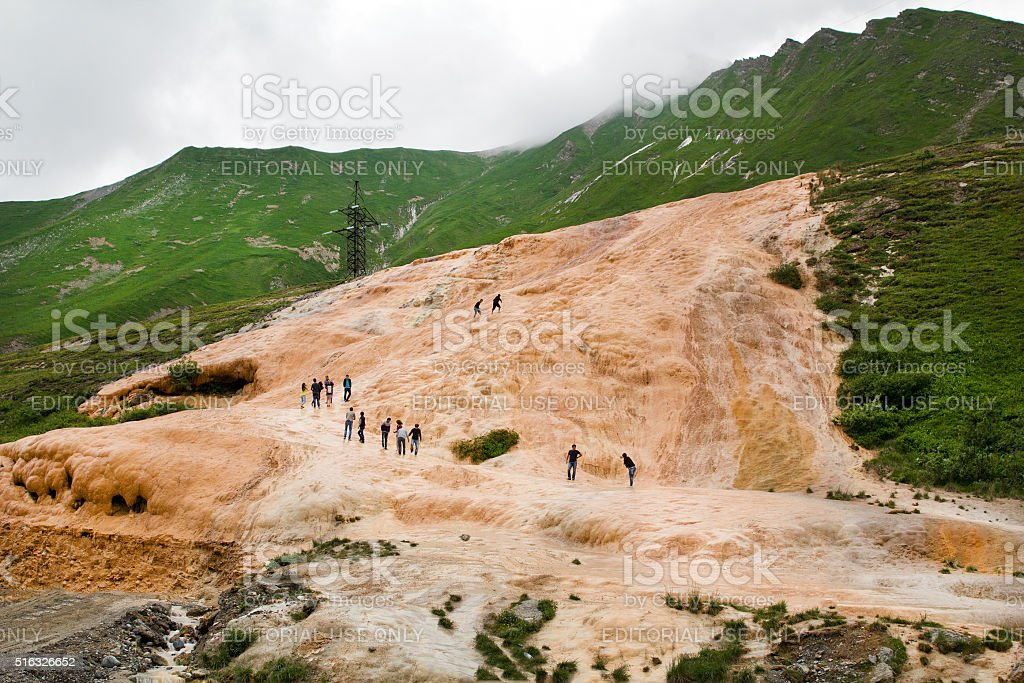 Exit travertine rock on the surface of the earth stock photo