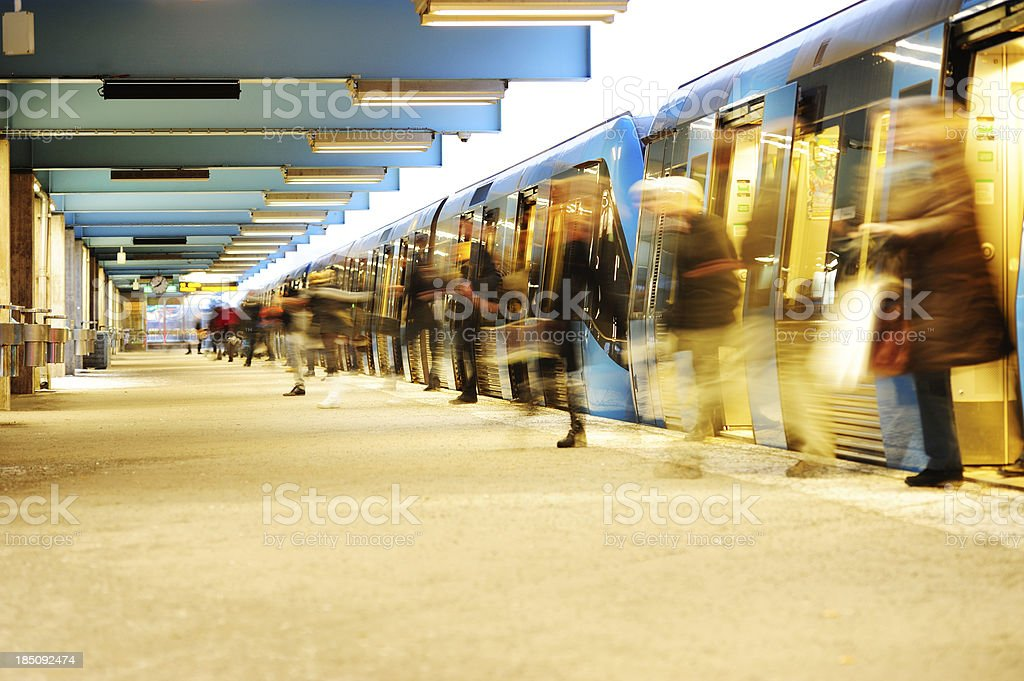 Exiting subway train stock photo