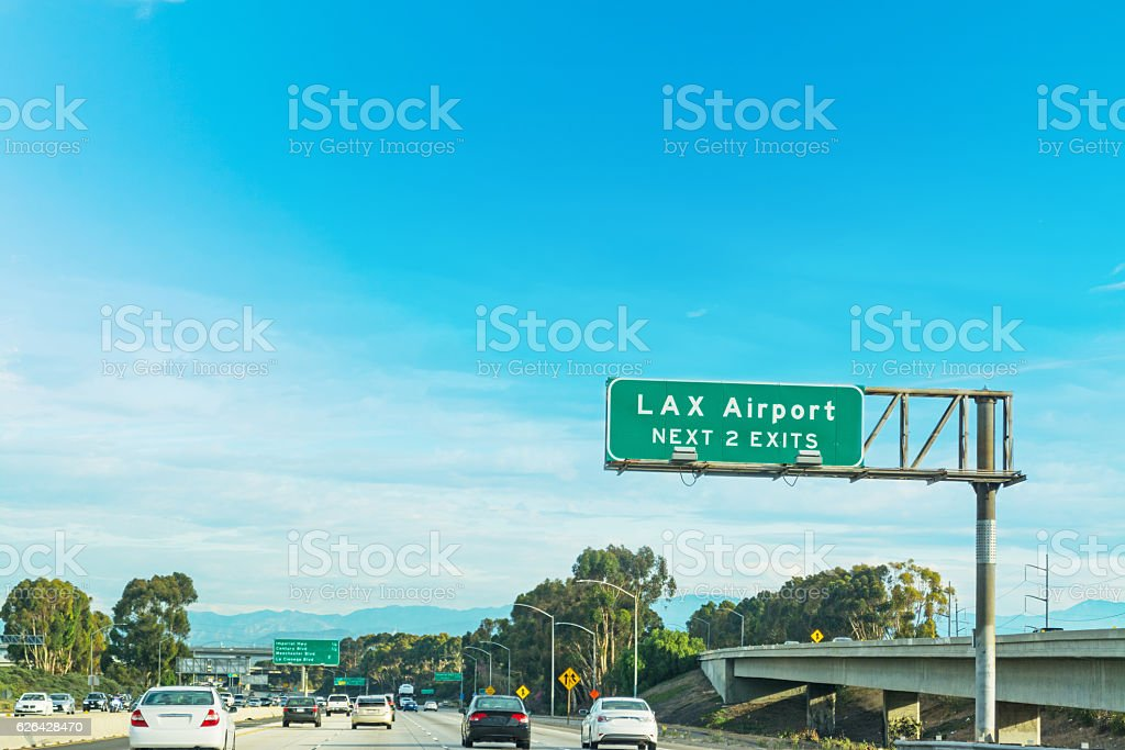 LAX exits sign in Los Angeles stock photo