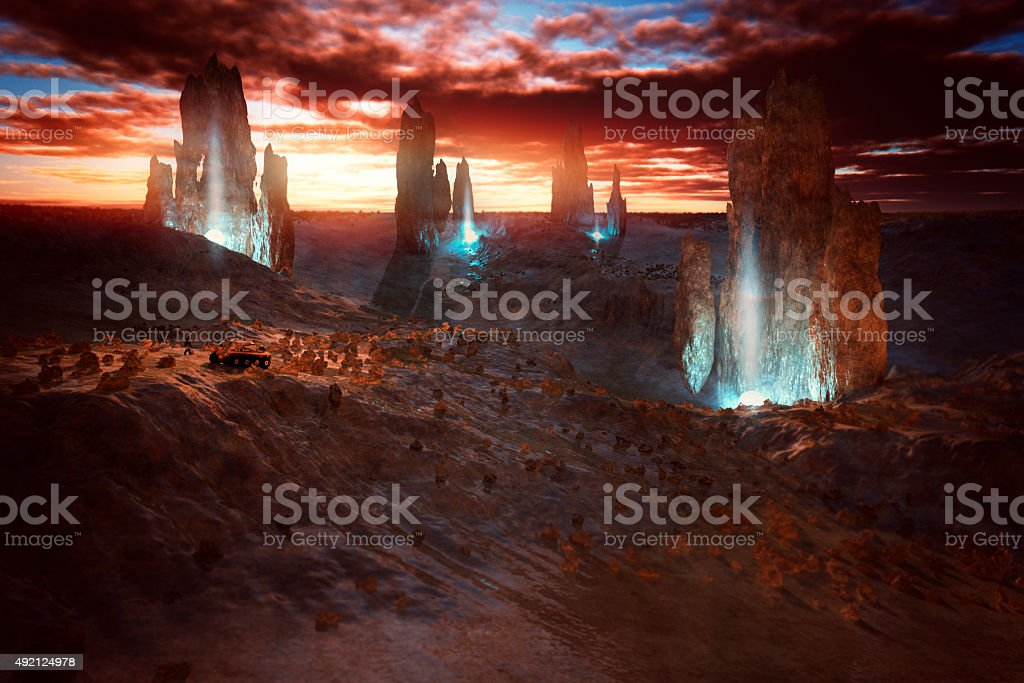 Exo planet exploration with strange rock artefacts stock photo