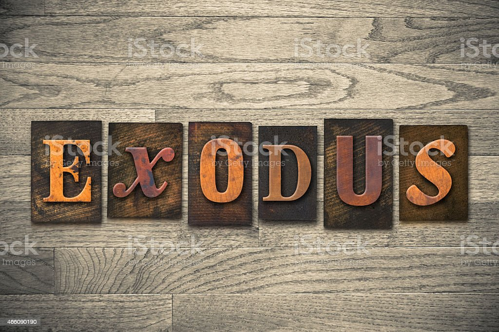 Exodus Concept Wooden Letterpress Type stock photo