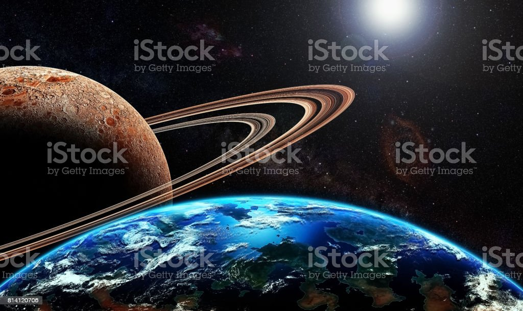 Exoplanet and exomoon stock photo