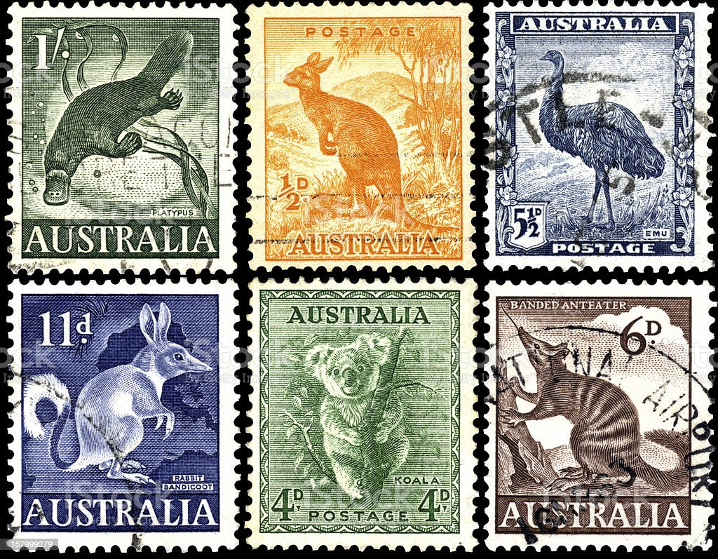 Exotic animals on stamps of Australia. royalty-free stock photo