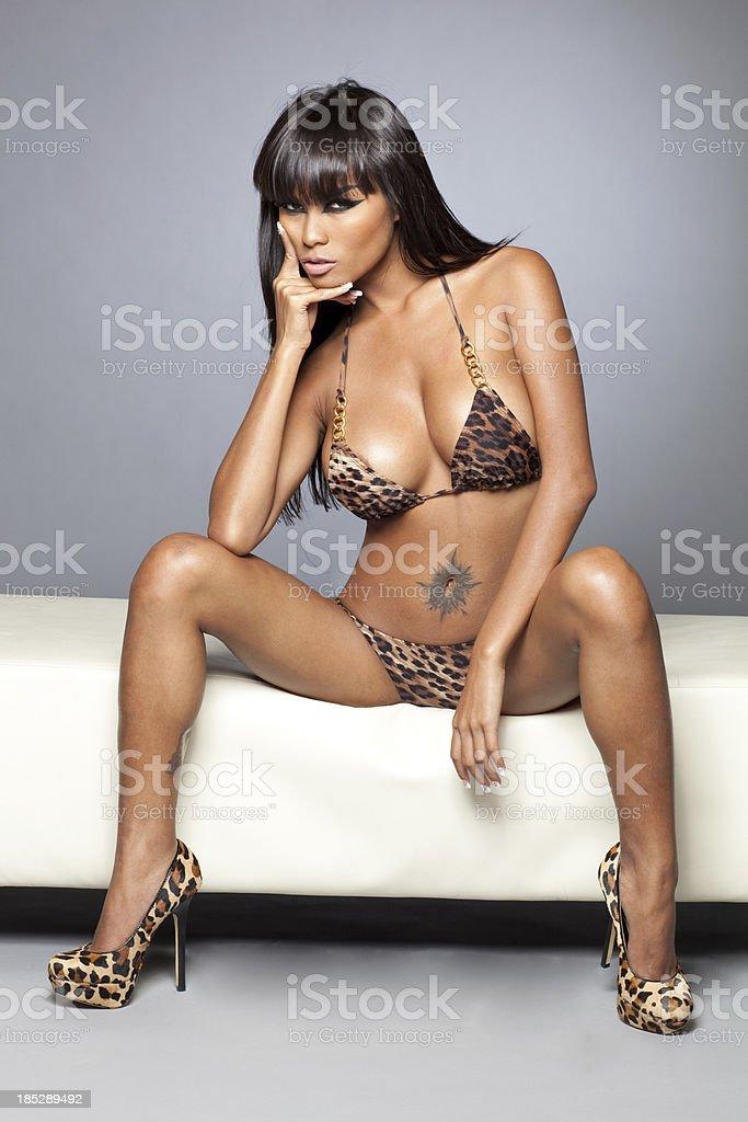 Exotic asian bikini model stock photo