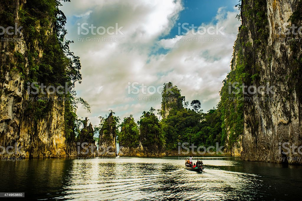 Exotic asian landscape with cliffs in the water stock photo