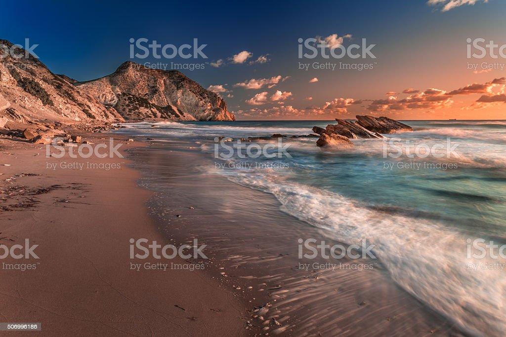 Exotic Beach cavo Paradiso, Kos island Greece stock photo