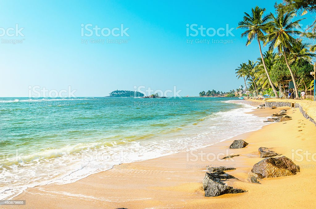 Exotic beach with golden sand, Caribbean Islands stock photo