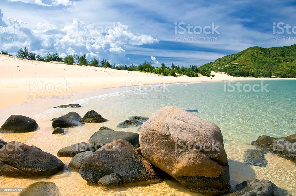 Exotic beach with white sand in Quy Nhon, Vietnam stock photo