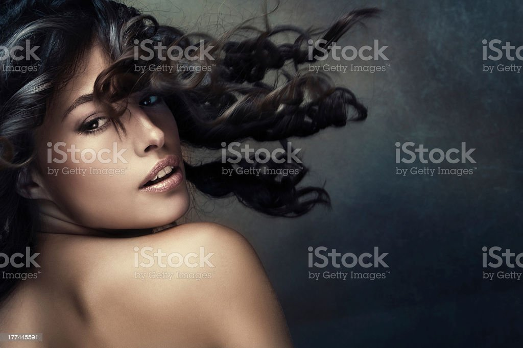 Exotic beauty in black background stock photo