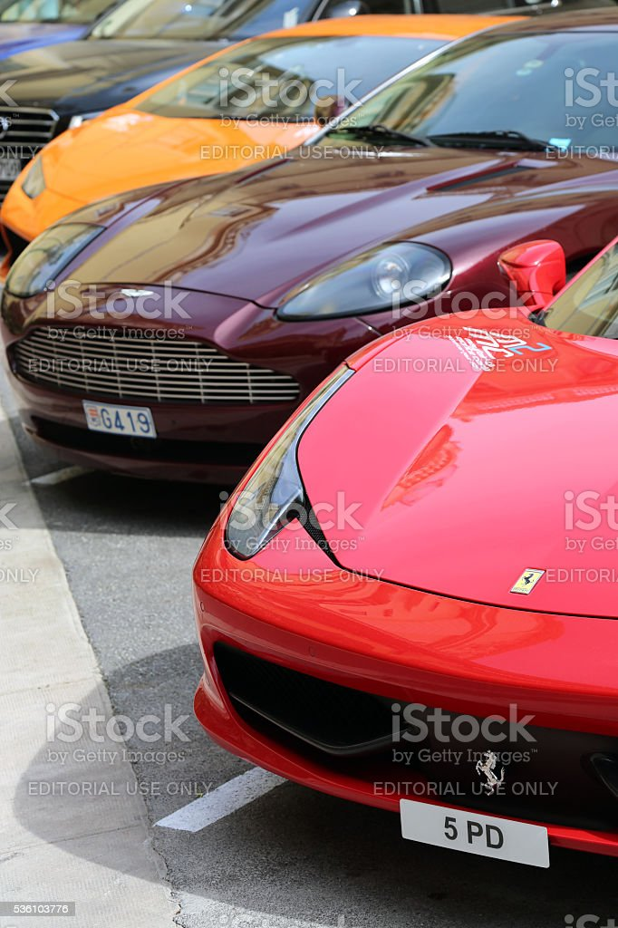 Exotic Cars Line Up in Monaco stock photo