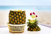Exotic cocktail, pina colada in a pineapple