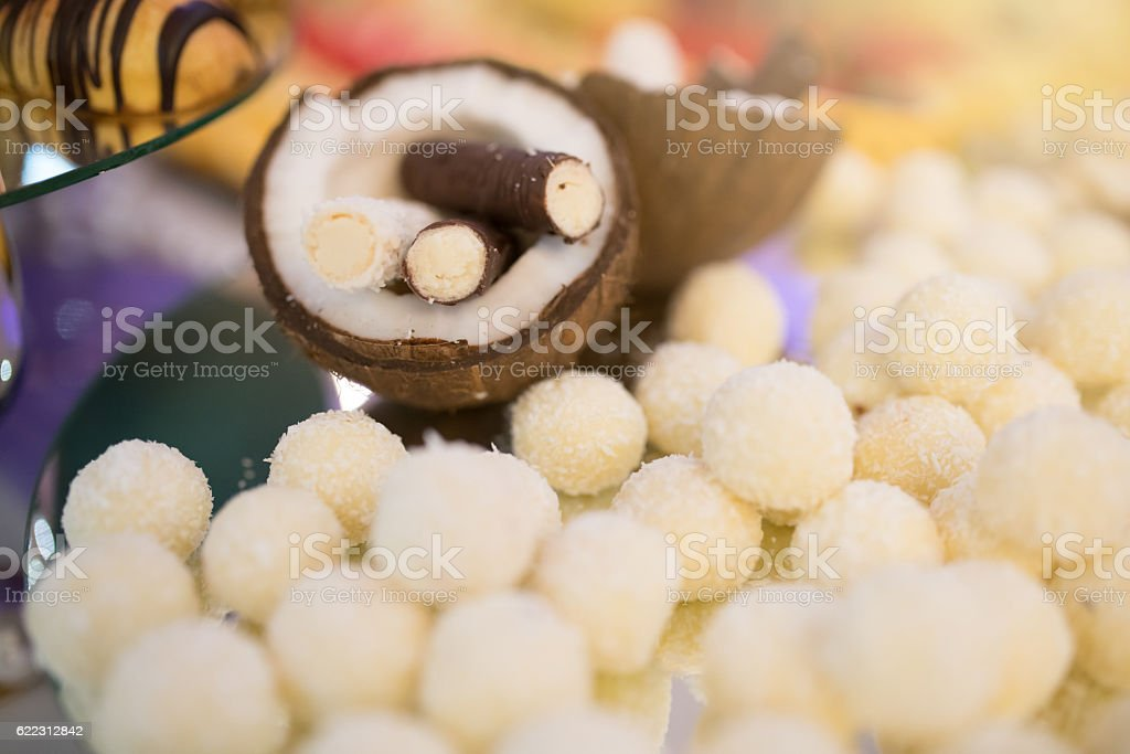 Exotic coconut sweets stock photo