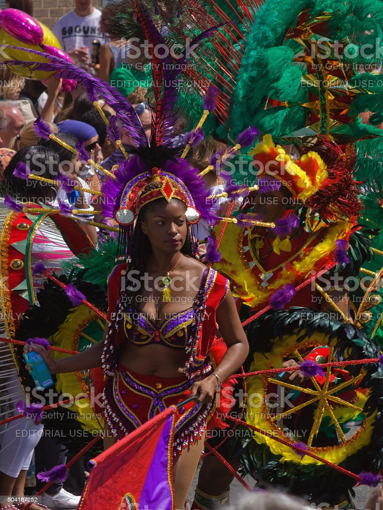 Exotic costumes at the head of carnival parade in Bristol stock photo