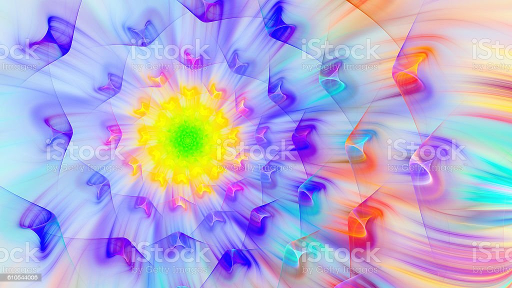 Exotic flower. Exotic petals dandelion. 3D surreal illustration....