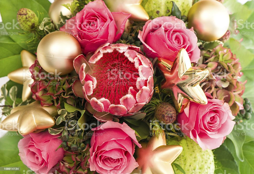 exotic flower protea and fresh pink roses royalty-free stock photo