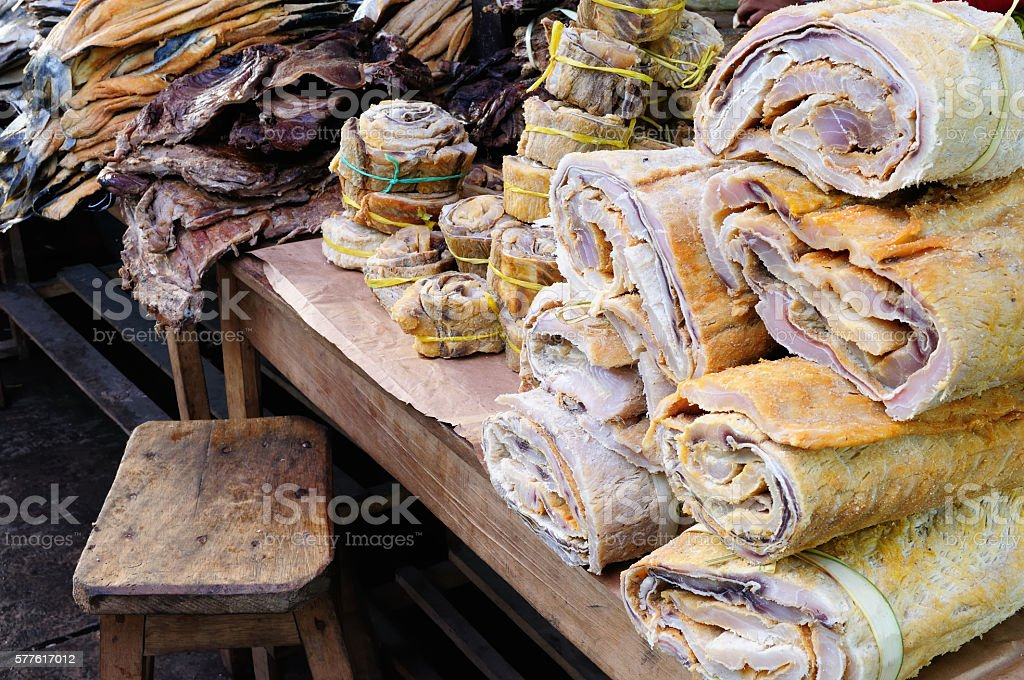 Exotic food in Iquitos in Amazonia stock photo