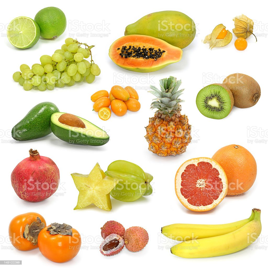 Exotic fruit collection on white royalty-free stock photo