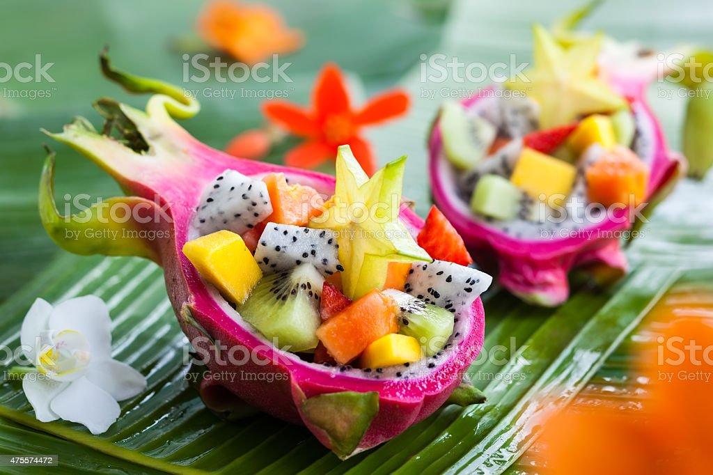 Exotic fruit salad stock photo