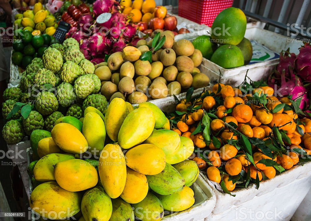 Exotic fruits in the Asian market stock photo
