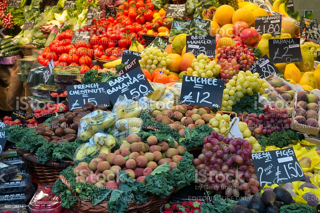 Exotic fruits on a market stall stock photo