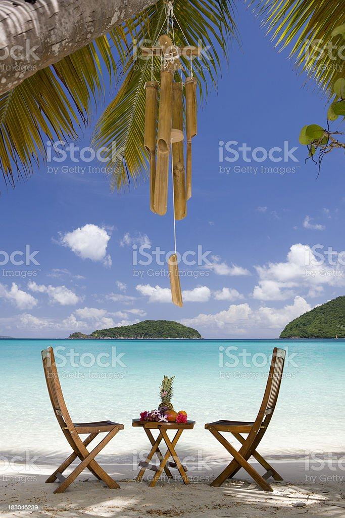 exotic fruits on a table at the Caribbean beach royalty-free stock photo