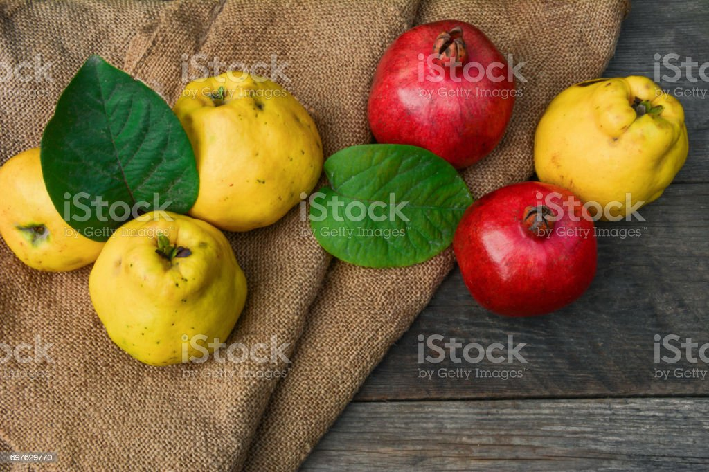 Exotic fruits on wooden table stock photo