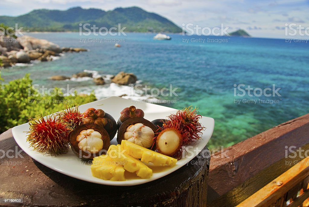 Exotic Fruits Plate royalty-free stock photo