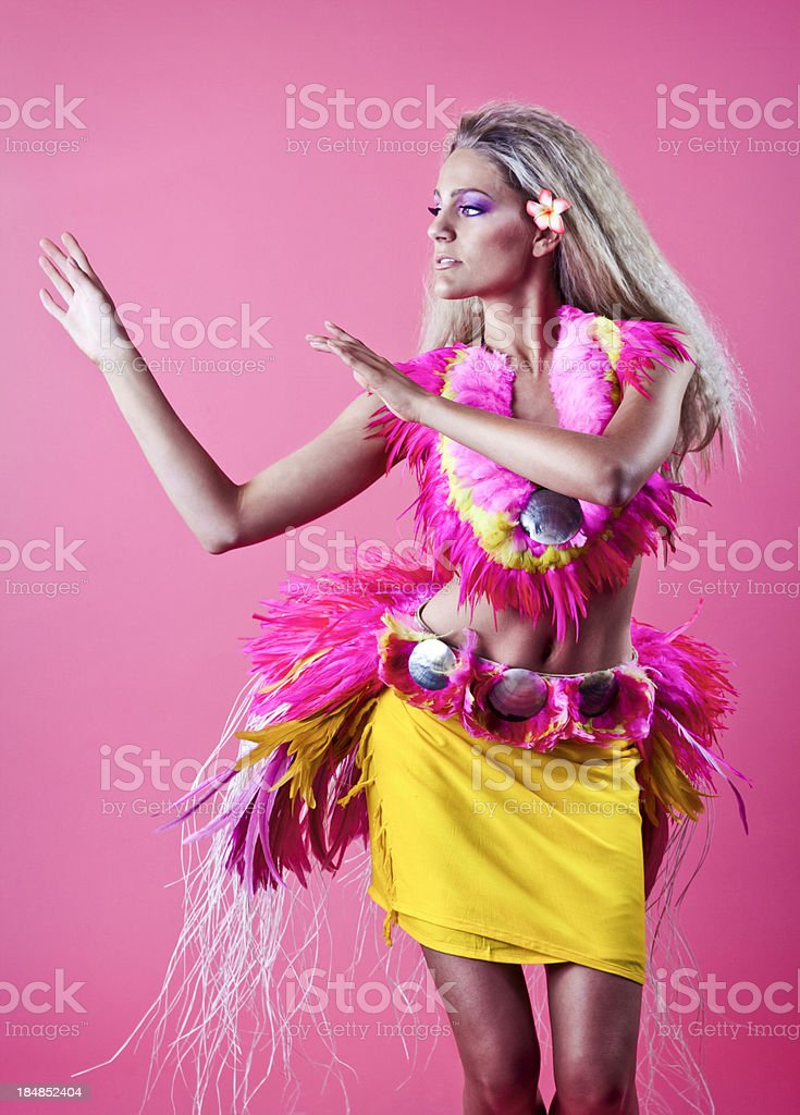 Exotic Island Dancer in Traditional Tahitian Wardrobe royalty-free stock photo