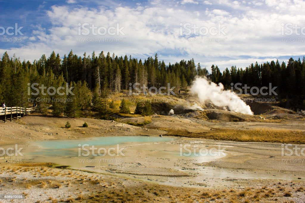 Exotic landscape in Yellowstone stock photo