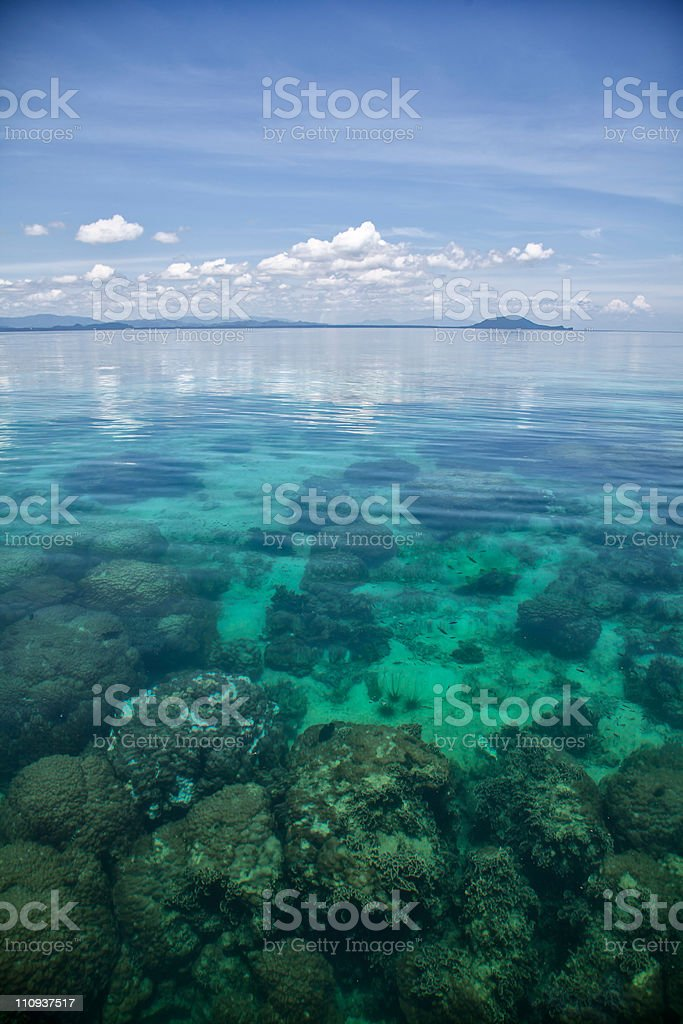 Exotic landscape with coral reef stock photo