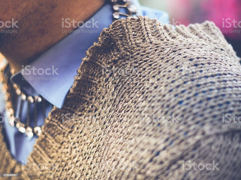 Exotic Man's expensively dressed up ,collar and jewels stock photo